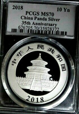2018 China 10Yn Panda Silver Pcgs Ms70  35Th Anniversary N/r Auction!