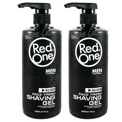 2 Red One Shaving Gel Platinum Black Series - Silver, Easy Pump, 2 x 500 ml