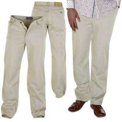 Da Uomo Chino Pantaloni d555 Duke Big King Size Jeans Lavoro Bottone Zip Casual Formale