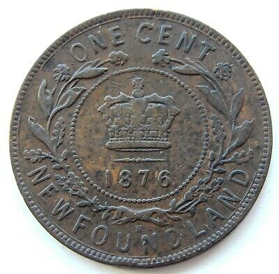 1876 H Newfoundland Canada Large 1 Cent Coin  SB5959