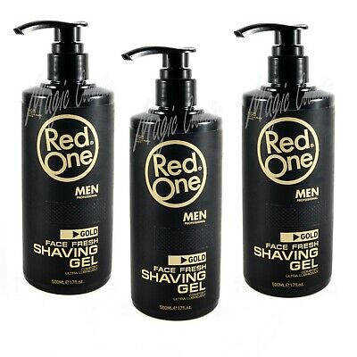 3 Red One Shaving Gel Platinum Black Series, Gold, Easy Pump, 3 x 500 ml
