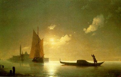 Ivan Aivazovsky Oil Painting repro Gondolier at Sea by Night
