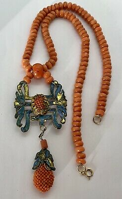 Antique Amazing Chinese Coral Kingfisher Beaded Necklace Pendant