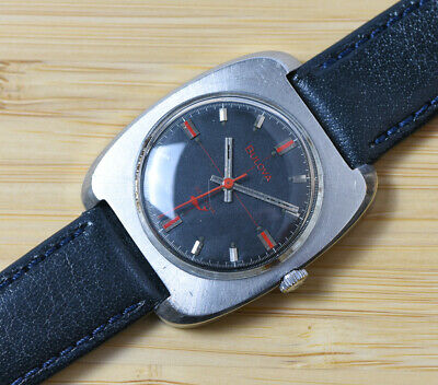 1969 Vintage BULOVA SEA KING Red Accent Cross Hair Wind Up Watch SS Leather
