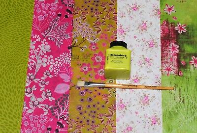 Decopatch Economy Starter Kit with 5 Pink and Green Papers, Decoupage Craft Set