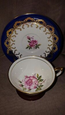 Vintage Aynsley Hand Painted Wild Rose with Cobalt Cup & Saucer - Teacup England