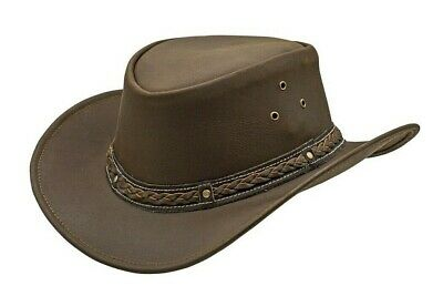 229fc9876d6 LEATHER COWBOY WESTERN Aussie Style Bush Hat Brown and Black Wide ...