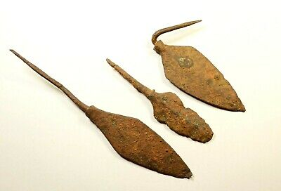 LOT OF 3 - ANCIENT ROMAN BATTLE IRON ARROW ARROWHEAD - c. 300-400 AD