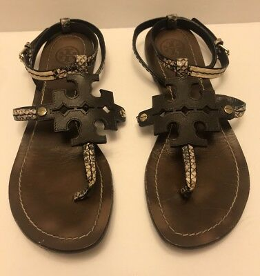752fb857d TORY BURCH PHOEBE Snake-Embossed Flat Sandals Brown Size 6 -  120.00 ...