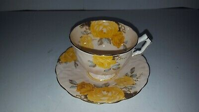 Aynsley Yellow Cabbage Rose  Crocus Shape Tea Cup And Saucer