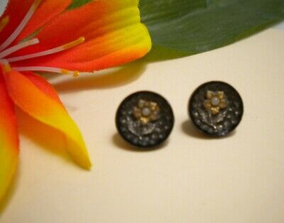 Antique Victorian Seed Pearl Black Glass Gold Silver Lust Flower Picture Buttons