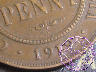 Australia 1919 George V Dot Below Penny X1, Average Circulated Condition