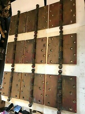 "9 RARE HEAVY ANTIQUE SARGENT 6 x 6"" ART CRAFT CAST BRASS BALL TOP TIP DOOR HINGE"