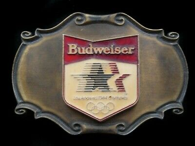 Rl07119 Vintage 1980 **Budweiser Los Angeles 1984 Olympics** Sports Belt Buckle