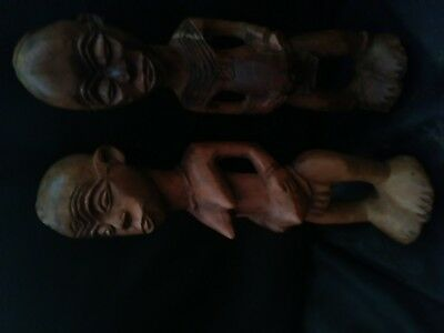 old antique african pair of couple statues