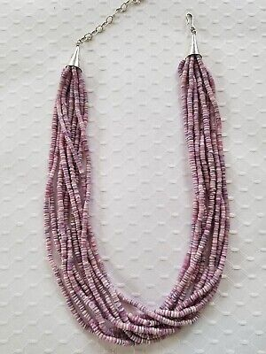 J. Tenorio, Native American Purple Spiny Oyster 10 Strand Necklace and earrings.