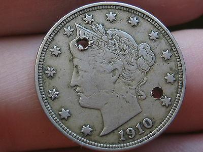 1910 Liberty Head V Nickel- VF/XF Details, Full Rims, Holed Twice, Old Button?