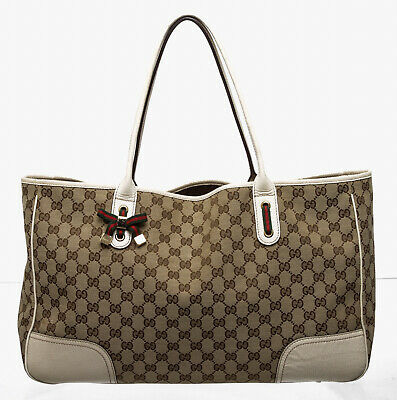 b2c9920a6f6 GUCCI BROWN AND Beige GG Monogram Canvas Princy Tote Bag -  445.50 ...
