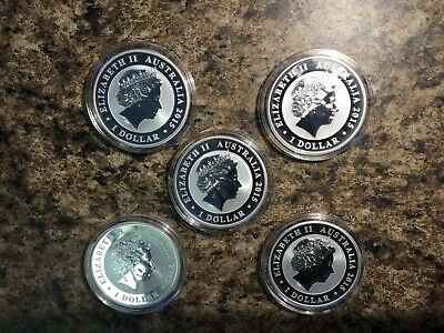 2015 Australian Kookaburra 1 oz. Silver Dollar BU in Capsule-Lot Of 5 Coins