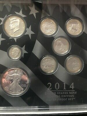 2014 US Mint Limited Edition Silver Proof Set 8 Silver Coins In Original Box