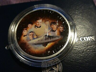 "2019 1 Oz Silver Eagle .999 Colorized "" Star Trek Starship Enterprise NCC-1701 """