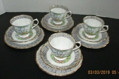 "FOUR (4) ROYAL ALBERT ""SILVER BIRCH"" TRIOs (tea cup/saucer + sm. plate)"