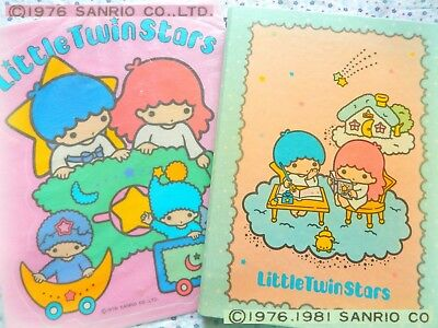 🌟 Vintage SANRIO LITTLE TWIN STARS 1976 Japan Adesivo + Quaderno Anelli 1981 🌠