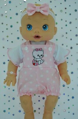 "Play n Wear Doll Clothes For 13"" Baby Alive POLKA DOT BIB DUNGAREE~TOP~HEADBAND"