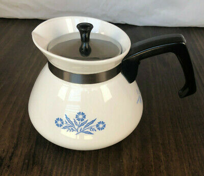 Vintage Corning Ware Blue Cornflower Coffee Tea Pot 3 Cup Small Mini White