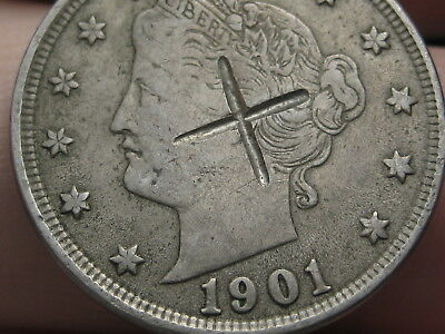 1901 Liberty Head V Nickel- VF/XF Details, Counterstamped