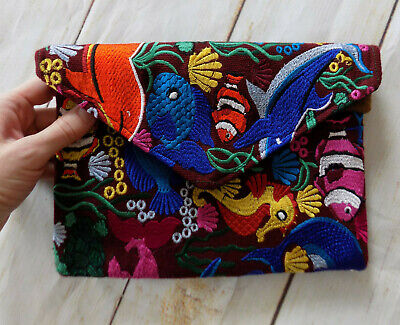 Handmade Embroidered Envelope Style Clutch Bag Bohemian Fish Handbag Purse