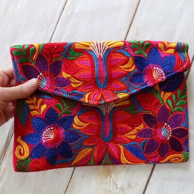 Handmade Embroidered Envelope Style Clutch Bag Bohemian Floral Handbag Purse