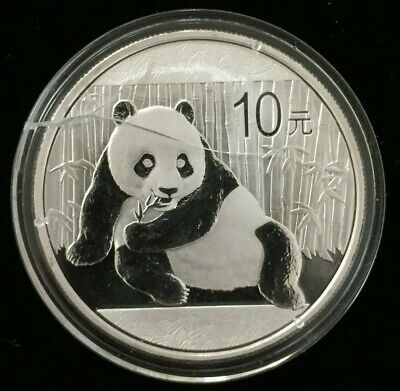 2015 China Silver Panda Coin 1 oz .999 Fine 10 Yuan Chinese in Cracked Capsule