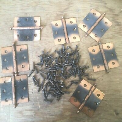 "Vintage cabinet door copper hinges small box shutter  2 x 2"" w/ screws"