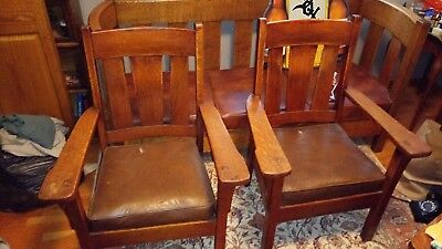 Antique Arts and Crafts Mission Oak Arm Chairs Matching Set of 2 Stickley type