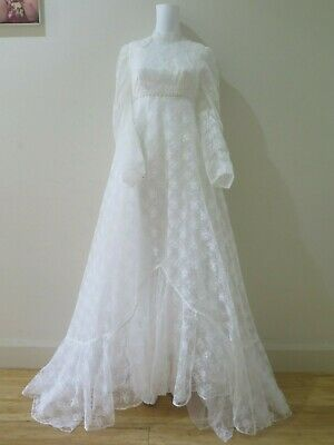Vintage Jean Fox Lace Wedding Dress Gown And Bridal Cape Deb Formal