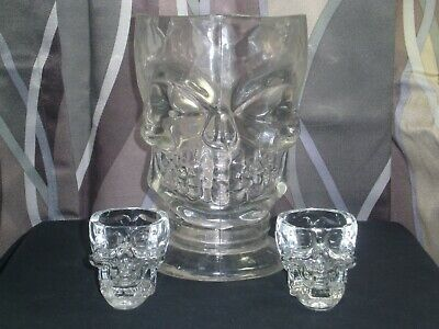 "Vintage Skull plastic 8"" Beer Pitcher with 2 real Crystal head Vodka shot glasse"