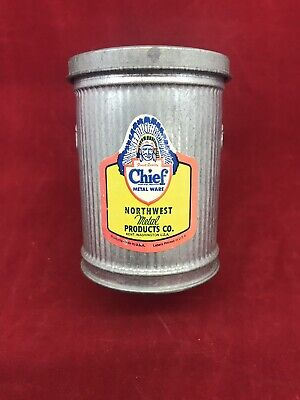 Vintage Chief Metal Ware Salesman Sample Miniature Trash Can Kent Wa 40's NOS