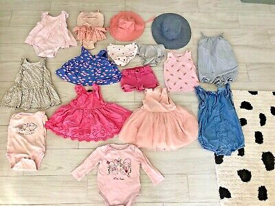e8795c992aea 16 PC Lot Toddler Girls Baby Gap Spring Summer Clothes Rompers Hats Swim  12-18