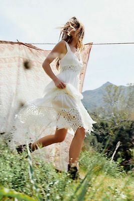 52064c5d186 NWT Free People Antique White Caught Your Eye Crochet Maxi Dress Size 4  Small