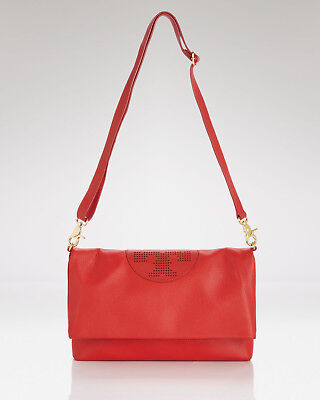 180d2592a2b3 AUTHENTIC NWT TORY BURCH KIPP Leather Foldover Crossbody Bag RED Gold  470+