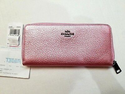 NWT New Coach 23554 Accordion Zip Around Wallet Leather Metallic Pink Blush $225