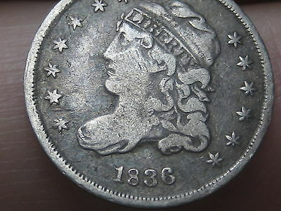 1836 Capped Bust Half Dime- Small 5C, Fine/VF Details