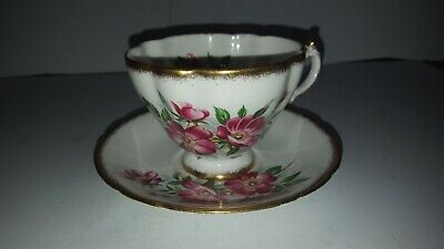 Paragon Tea Cup and Saucer Set Pink Sweet Pea Flower Floral