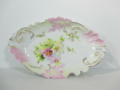 Hand Painted Bowl Oval Serving Dish Centerpiece Vanity Vintage Gold Accent