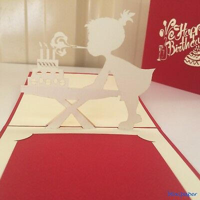 pop up 3D Birthday card girl blowing candle greeting card gift card
