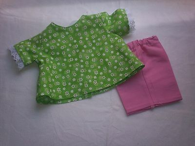 """American Made 18"""" Girl Doll Clothes White Flowers on Lime Green Top-Pink Shorts"""