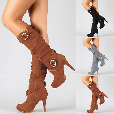 Women Mid Calf Boots Knee Thigh High Shoes Stiletto Heels Buckle Stretch Zip Up