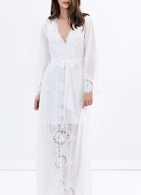 Homebodii Helena Robe White Bridal Gown Lace Size XS