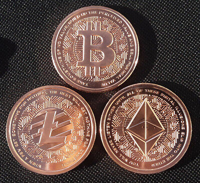 (3) ROUNDS Silver Shield MiniMintage Bitcoin / Litecoin / Ethereum 1oz Copper BU